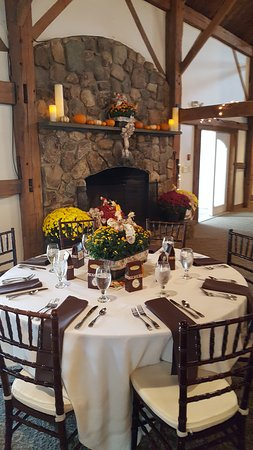 Wolfeboro, New Hampshire: Beautiful stone fireplace in our private heated/air conditioned barn for functions and weddings