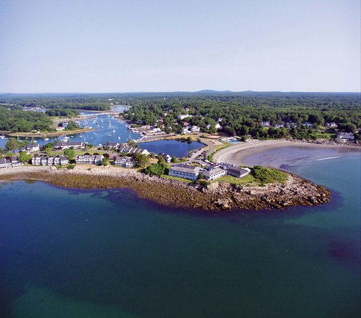 Aerial image take above the entrance to York Harbor, where The York River meets The Atlantic.