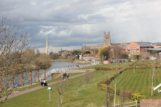 Worcester, UK: The Cathedral seen from riverside walk