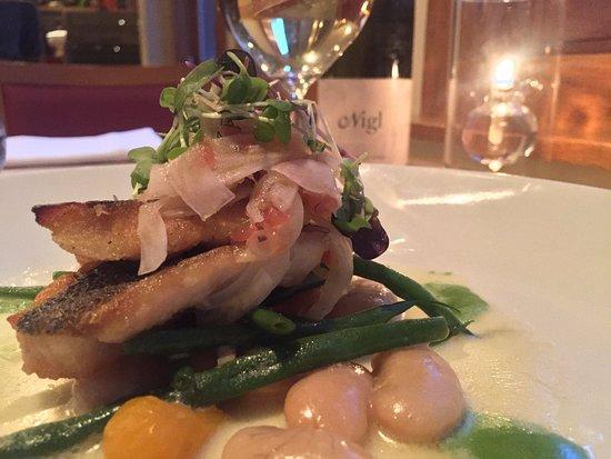 La Tour Restaurant: Veta de Palma Loup de Mer (Mediterranean Sea Bass), Nigl Grüner Veltliner (white wine), La Tour