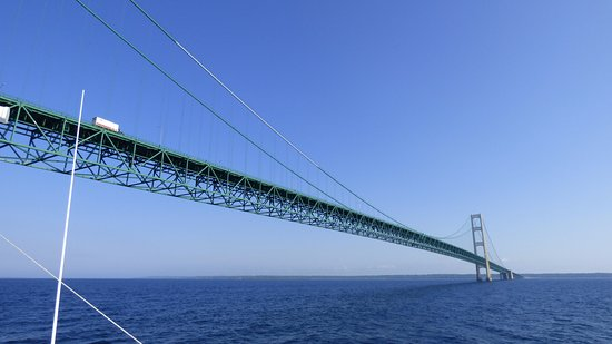 Mackinaw City, MI: Boat view of bridge
