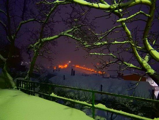 view of Fondachelli Fantina long bridge in winter