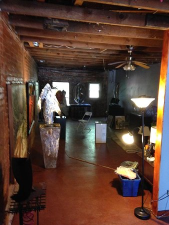 Bob Doster's Backstreet Studio: Exposed rafters give a rustic feel to newly enlarged gallery