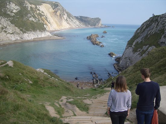 West Lulworth, UK: Man O'War Cove, looking East along the Cretaceous Coast to Lulworth Cove