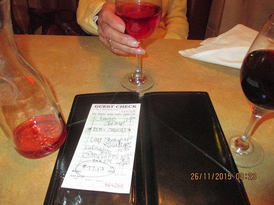 Giuseppe's Italian Ristorante: Here's the bill