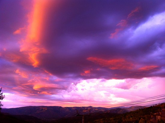 Snowmass Village, CO: Sunset and Thunderclouds, Venga Venga, Snowmass, CO