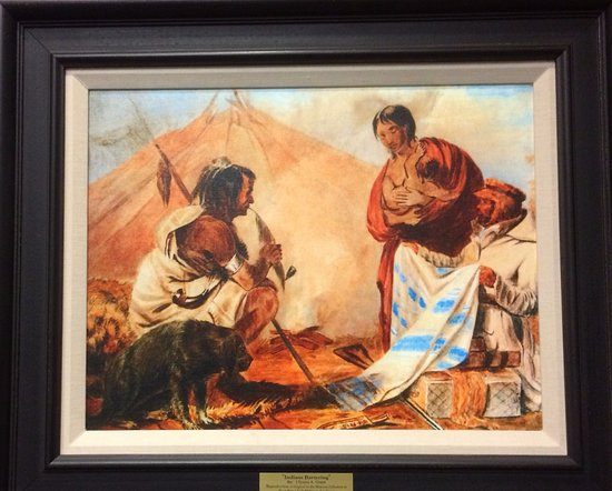 "Starkville, MS: ""Indians Bartering"" painting by Grant while he was at West Point."