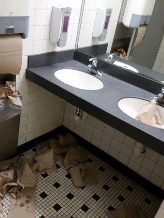 Glendale Heights, IL: Overflowing trash in bathroom