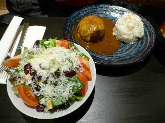 Burnaby, Canada: Hamburg Steak (surprisingly to me: a Japanese dish) and a mixed salad