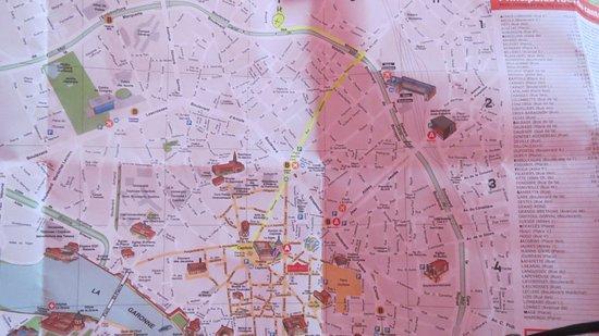 Ibis Budget Toulouse Centre: Plano de Toulouse. En amarillo está marcado el trayecto andando desde el hotel hasta el Capitol.