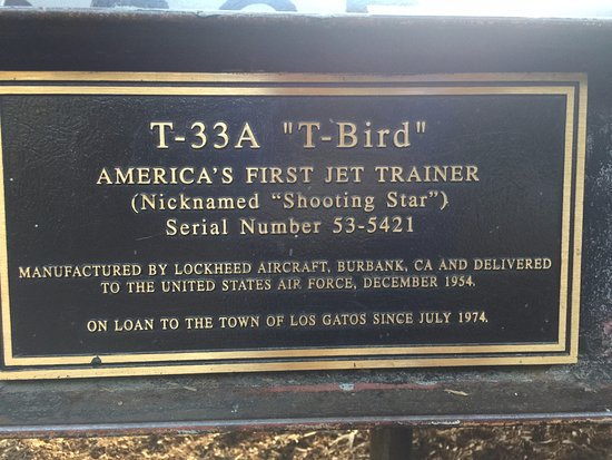 "Los Gatos, CA: Sign of T-33A ""T-Bird"" airplane"