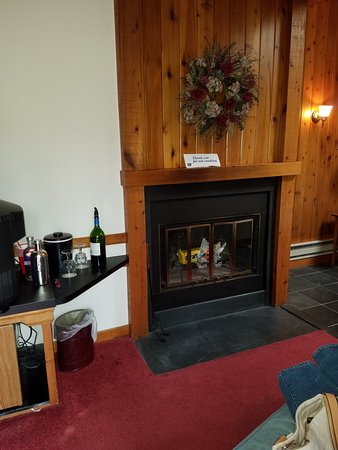 Cresco, PA: Fireplace view from living room area of the room.
