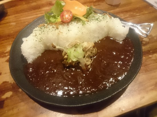 Omachi, Japan: Curry and rice, resembling Kurobe Dam