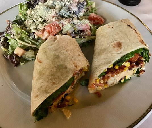 Gastonia, NC: Salmon Crabcake wrap with caesar salad.