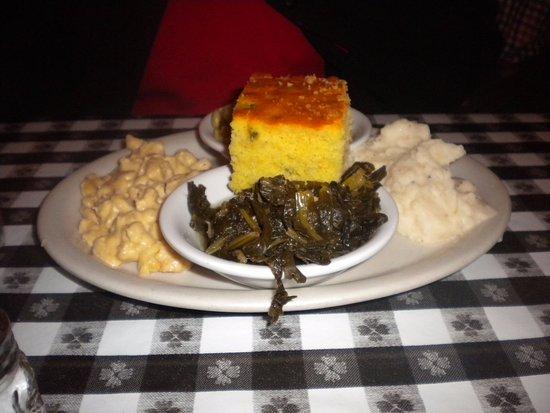 Oxford, MS: Four veggies plate with jalapeno cornbread.
