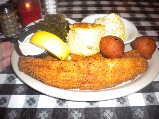 Oxford, MS: Fried catfish, turnip green, potato salad, hushpupies, cornbread.