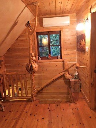 Saint-Fulgence, Canada : La montée d'escalier et sa rampe très particulière (bizarrerie de la nature)
