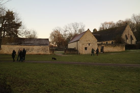 Bradford-on-Avon, UK: West Barn and Tithe Barn from the Country Park