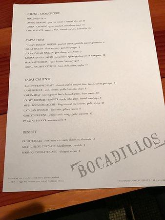 Menu at Bocadillos-limited but good