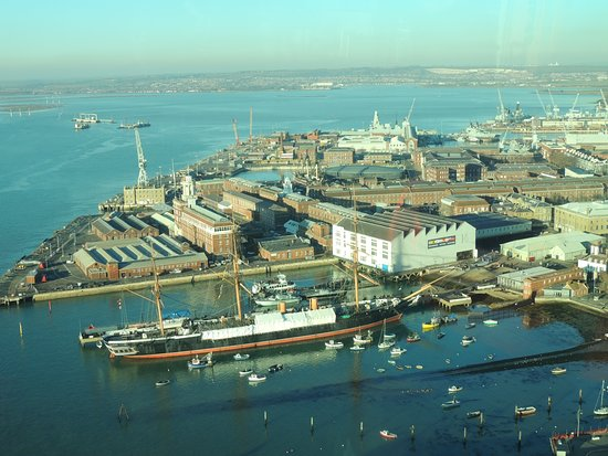 Gosport, UK: View over to Historic Naval Dockyard from top of Spinnekar Tower.