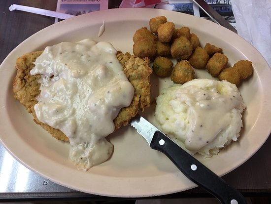 Edom, TX: Chicken Fried Steak, mashed potatoes, and fried okra.