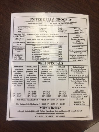 Columbus, MS: This is the front and back of the United Deli & Grocery menu as of January 2017. Hope it helps!