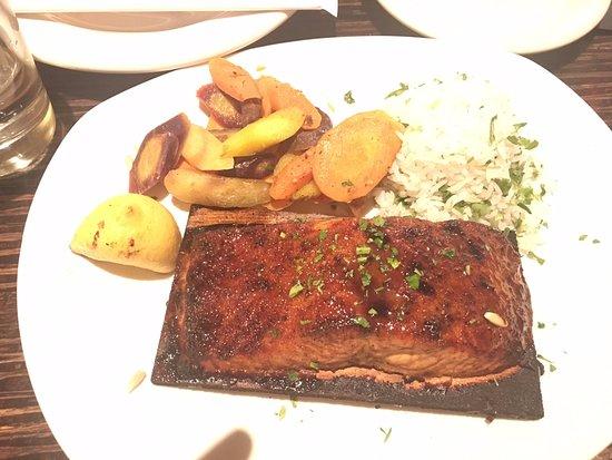 Brentwood, MO: Cedar Plank Salmon with sweet potatoes