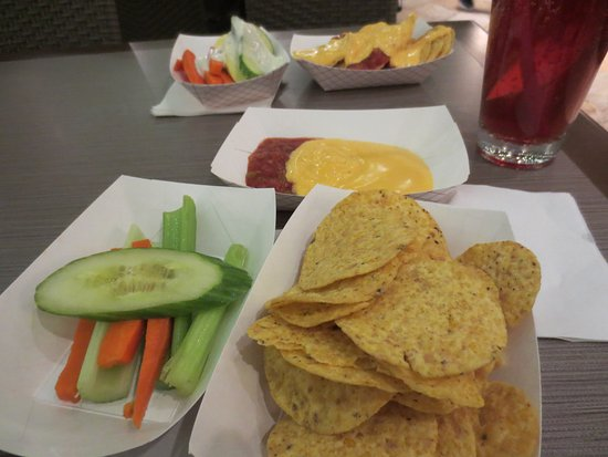 El Segundo, CA: Snacks offered at 5 p.m. chps, dip, veggies, and drinks