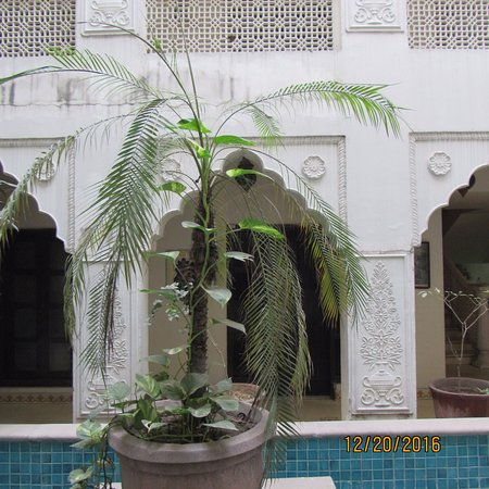 Jyoti Mahal Guest House: There was no water in the reflecting pool. That would have been lovely.