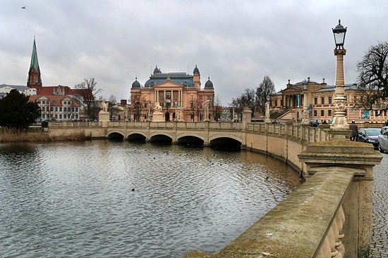 View of Opera House (center) and State Art Museum (right) in Schwerin.