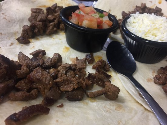 Tacos de asada with a side of rice and beans The Cantina, Norris TN 37828