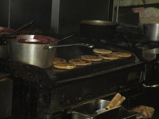 Fridley, MN: grill cooking Pupusas