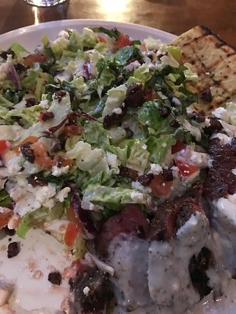 Karl Strauss Brewing Company: Med Salad with Flat Iron steak