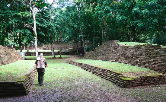 Toledo District, Belize: This is a well preserved small ball court with circular marker at midfield.