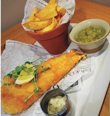 Bolton by Bowland, UK: Beer Battered Haddock & Chips