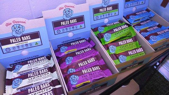 Bendigo, Australia: Blue Dinosaur Paleo Bars available in studio.
