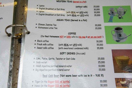 Kangaroo Cafe: меню