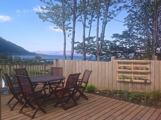 North Ballachulish, UK: BBQ area and view over Loch Linnhe -  May 2016