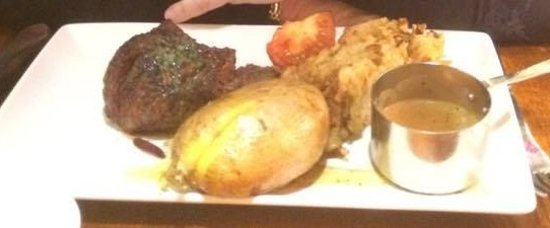 Abridge, UK: Fillet with jacket potato.