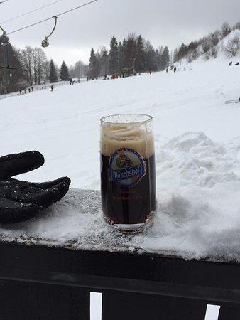 Fichtelberg, Germany: Enjoying a beer before eating..