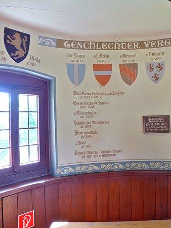 Alken, Germania: Teil des Frieses mit den Wappen der früheren Burgherren
