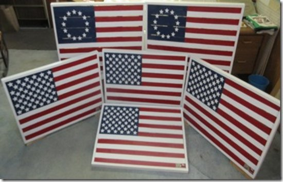 "Kenosha, WI: Our American flags on wood fense, 3/16"" thick wood stars & Pantone color standardsds. St"