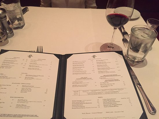 Hyde Park Prime Steakhouse Main Menu At Table