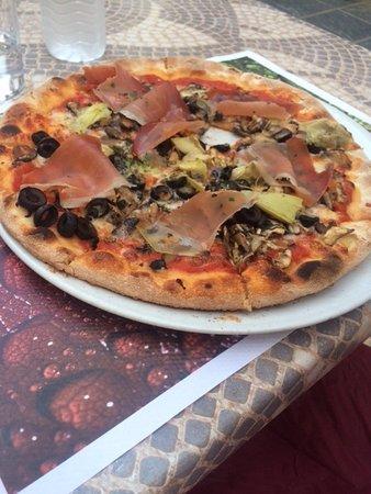 Ham, olives, and mushrooms