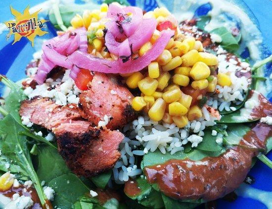 Blackened Salmon Parrilla Grill In Bend Oregon. Sooooooo goooooooood!