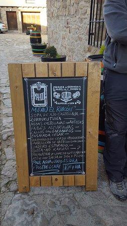 Medinaceli, إسبانيا: El menú del día