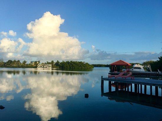 St. George's Caye, Belize: Leeward side of the island. Note how still it is.