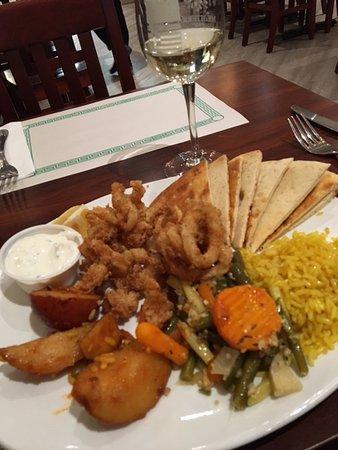 Port Hope, Καναδάς: Calamaris with potatoes, rice and tsaziki