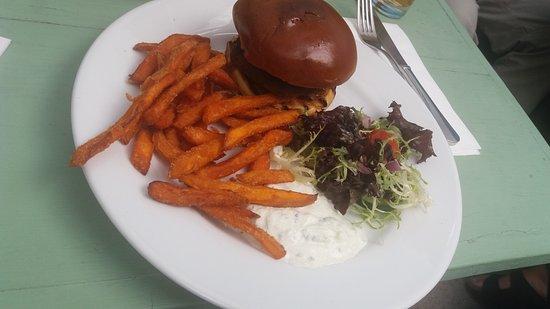 Egham, UK: Lamb burger & sweet potato fries, mint raitha