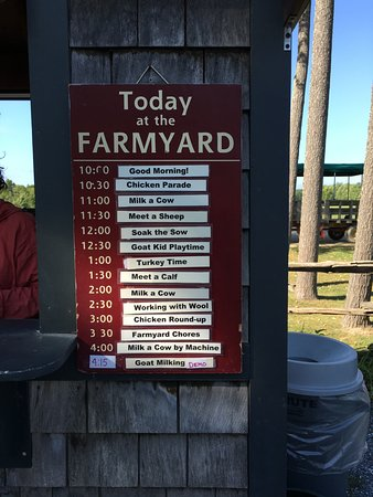 Shelburne, VT: Daily activities at the farm listed.